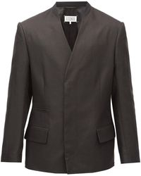 Maison Margiela Collarless Double-breasted Cotton-blend Blazer - Black