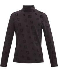 Fendi Haut col roulé en coton à logo FF - Noir