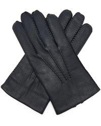 Bark Brown//Beige Dents Mens Helston Deerskin Leather Gloves
