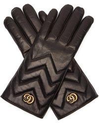 Gucci Gants en cuir matelassé motif chevrons GG Marmont - Noir