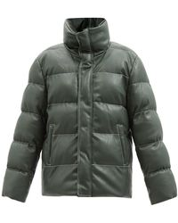 STAUD Ace Topstitched Faux-leather Padded Jacket - Green
