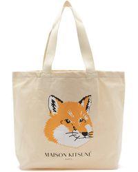 Maison Kitsuné Fox-head Logo-print Canvas Tote Bag - Natural