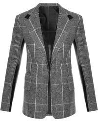CALVIN KLEIN 205W39NYC - Leather-Panel Checked Wool Blazer - Lyst