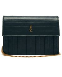 Saint Laurent Victoire Mini Quilted Leather Cross Body Bag - Green