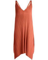 Pleats Please Issey Miyake - Pleated V Neck Dress - Lyst