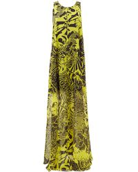 Halpern Abstract-print Trapeze Crepe Maxi Dress - Yellow