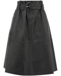 PROENZA SCHOULER WHITE LABEL ハイライズ ナッパレザースカート - ブラック