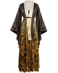 Adriana Iglesias - Anna Reversible Floral Print Stretch Silk Robe - Lyst