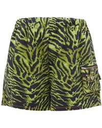 Ganni Tiger-print High-rise Denim Shorts - Green