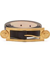 Versace - Medusa Buckle Slim Leather Belt - Lyst