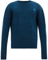 The Elder Statesman Palm Tree Embroidered Cashmere Sweater - Blue