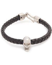 Alexander McQueen - Skull-charm Leather Bracelet - Lyst