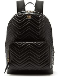 0681d582a845 Gucci Gg Marmont Leather Backpack in Black for Men - Lyst
