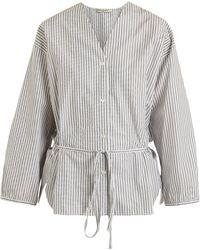Three Graces London Fillide Striped Cotton Pajama Shirt - Multicolor
