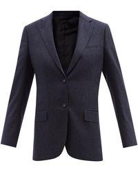 Officine Generale Charlene Chalk-stripe Wool-flannel Jacket - Blue