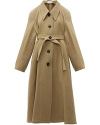 Lemaire Oversized Point Collar Wool Coat - Natural
