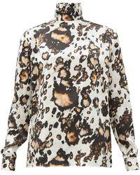 Edward Crutchley Animal-print Roll-neck Silk Blouse - Multicolour