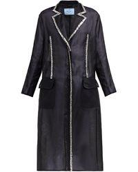 Prada - Crystal Single-breasted Silk-organza Coat - Lyst