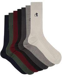 London Sock Company カラー バンドル コットンブレンドソックス X7 - マルチカラー