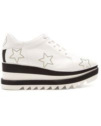 Stella McCartney - Sneak-elyse Lace-up Perforated-star Platform Shoes - Lyst
