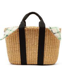 Muuñ Caba Checked Mohair And Woven Straw Bag - Multicolour