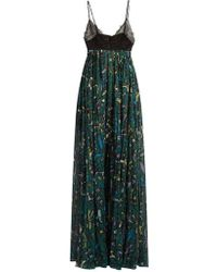 Valentino - Panama-print Cotton And Lace Gown - Lyst