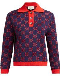Gucci GG-jacquard Cotton Polo Jumper - Multicolour