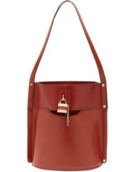 Chloé Aby Leather Bucket Bag - Brown