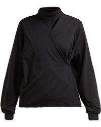 Lemaire - Asymmetric Batwing Sleeve Cotton Blouse - Lyst