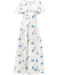 Vika Gazinskaya Floral-print Cotton-blend Maxi Dress - Blue