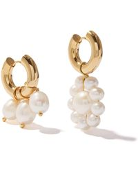 Timeless Pearly Mismatched Pearl & 24kt Gold-plated Hoop Earrings - Metallic
