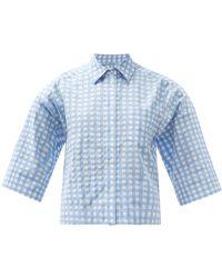 Three Graces London Nico Cotton-blend Gingham Shirt - Blue