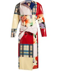 Marni - Patchwork Belted Leather Coat - Lyst