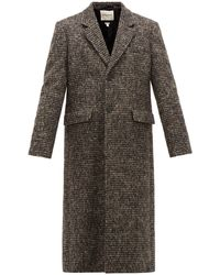 Rochas Single-breasted Checked Wool-blend Coat - Black