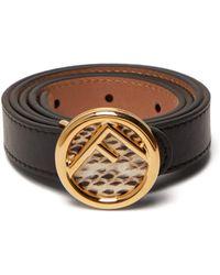 Fendi Watersnake Monogram Buckle Leather Belt - Black