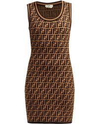 Fendi Ff Jacquard Knitted Mini Dress - Brown