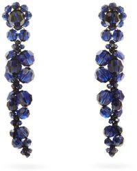 Simone Rocha Boucles d'oreilles à pendant en cristaux - Bleu