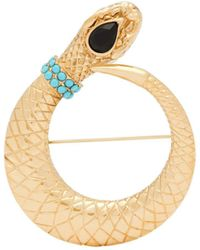 Etro Turquoise And Crystal Embellished Snake Brooch - Metallic