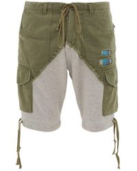 Greg Lauren Two-tone Cotton-jersey Cargo Shorts - Green
