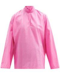 Balenciaga タイネック コットンポプリンブラウス - ピンク