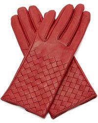 Bottega Veneta - Intrecciato Leather Gloves - Lyst