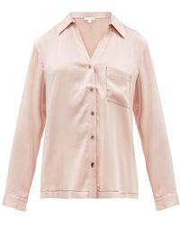 Skin Teresa シルクブレンドサテン パジャマシャツ - ピンク