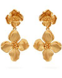 Oscar de la Renta - Gold-tone Clip Earrings Gold One Size - Lyst
