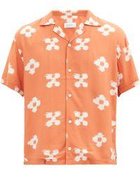 Saturdays NYC カンティ フローラル キューバンカラーシャツ - オレンジ