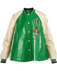 Valentino - Lipstick-appliqué Contrast-sleeve Leather Jacket - Lyst
