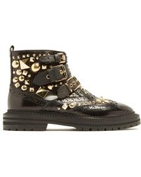 Burberry - Everdon Stud-embellished Leather Ankle Boots - Lyst