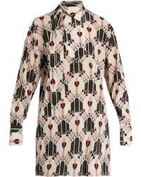 Valentino | Love Blade-print Silk Blouse | Lyst