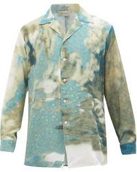 BED j.w. FORD ウォーターカラー サテンシャツ - グリーン