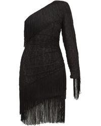Dundas - Fringed One-shoulder Cotton-blend Lace Mini Dress - Lyst