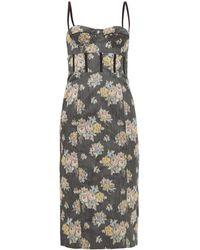 Brock Collection フローラルジャカード コルセットドレス - マルチカラー